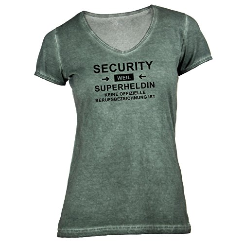 Damen T-Shirt V-Ausschnitt - Security Superheldin - Hero Beruf Olive