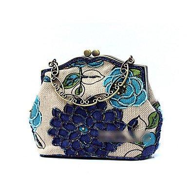 pwne L. In West Wome Der Handgefertigten High-Grade Retro Blume Perlen Party / Abend Tasche Blue