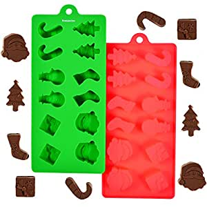Kompanion Silicone Christmas Moulds 24 Shapes, Make Chocolate for Christmas Decorations, Create Snowmen, Ribbons, Santa Clause, Trees and Stockings, Or Make Ice, Sweets, Jello and more.