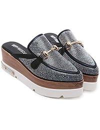MHX Zapatos de Mujer Sandalias Nuevas Versión Coreana del Diamante del Alto Talón Grueso Fondo Puntiagudo Zapatillas Salvajes (Color : Black, Tamaño : 37)