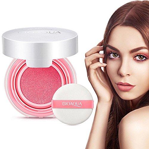 Wasserdichte Blusher Luftpolster BB Creme Make-up Paste Nude Rouge Creme Rouge Powder mit Blush Schwamm(Pfirsichrosa) -
