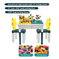 QPP-CL Toy Building Table with 2 Chairs And Building Blocks Toys, Children