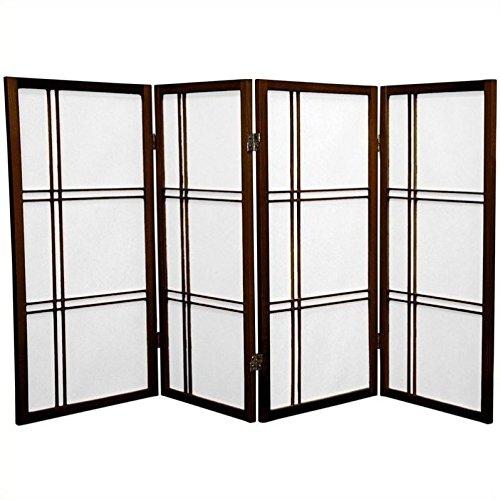 ORIENTAL FURNITURE Orientalische Möbel, 90 cm, Kreuzschlitz Japanische Shoji Sichtschutz, Raumteiler, 4 Paneele Walnuss
