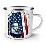 Adler Cowboy Hut Flagge USA Weiß Emaille-Becher 10 oz | Wellcoda