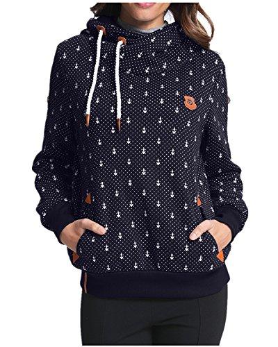 StyleDome Winter Damen Hoodies Pullover Langarm Jacke Top Sweatshirt Pullover Tops Jumper Dunkelblau465870 L (Sweatshirt Damen Hoodie)