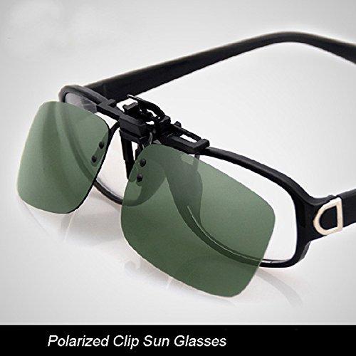 MaMaison007 Polarizzata Clip su occhiali da sole occhiali lente Unisex notte visione lente -S Tawny