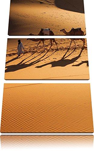 Kamelkarawane in der Wüste 3-Teiler Leinwandbild 120x80 Bild auf Leinwand, XXL riesige Bilder fertig gerahmt mit Keilrahmen, Kunstdruck auf Wandbild mit Rahmen, gänstiger als Gemälde oder Ölbild, kein Poster oder Plakat - Sonnenaufgang In Der Wüste Fertig