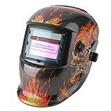 Dailyinshop Solar Oscurecimiento automático Máscara de Soldadura eléctrica Casco Tapa de Soldadura Cráneo llameante (Color: Transparente)