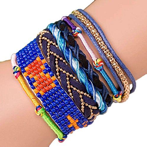 """ANDANTE - moda hippie, pulsera de estilo etno """"BERMUDAS"""", tamaño universal de acero noble con cierre automático (modelo 4020)"""