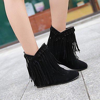 ZJJ Bottes femmes bottes de neige l'hiver / Round Toe robe Wedge talon Tassel noir / marron / jaune / Beige d'autres Black