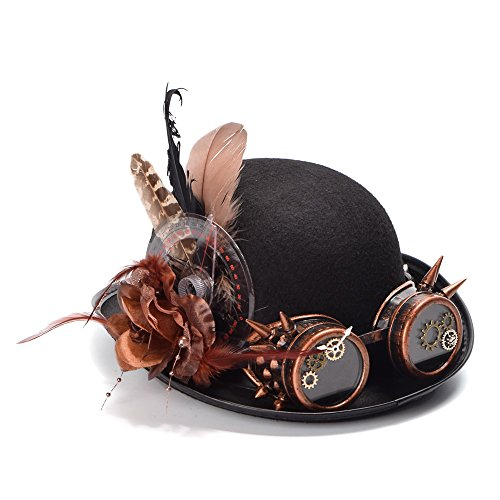 YINUO Gorras Mujeres Steampunk Black Bolwer Hat Plumas Gear Glasses Gothic Cosplay Hat (Color : Negro, tamaño : 56-58cm)
