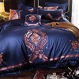 HIUGHJ Courtepointe Courtepointe Bleu européen Oriental Classique Broderie Coton égyptien Ensemble de literie Housse de Couette Linge de lit Drap de lit taie 4 /