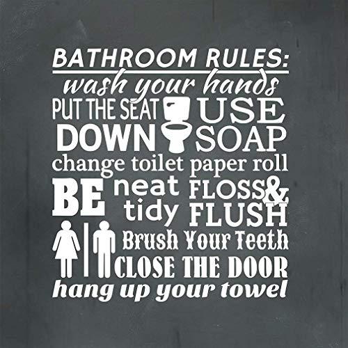 Monsety Metallschild Bathroom Rules Wash You Hands Put Seat Down Use Soap Quadratisch Hellgrau Anthrazit Schild für Hof, Garage, Auffahrt, Haus, Zaun 30 x 30 cm