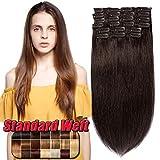 Clip in Extensions Echthaar günstig Haarverlängerung Remy Echthaar 10 Tressen 22 Clips Glatt 35/40/45cm-90g(#2 Dunkelbraun)