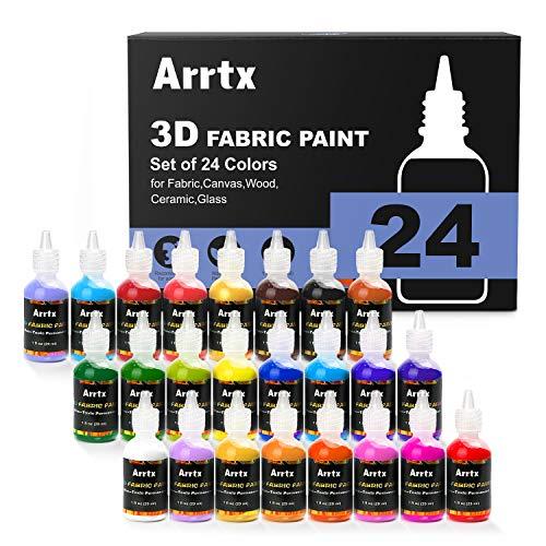 Arrtx pittura su tessuto 24 colori assortiti 3d pittura tessile permanente per tessuto, tela, legno, ceramica, vetro con punta fine per un'applicazione precisa non tossica