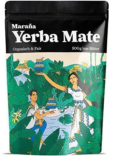 Maraña Yerba Mate Tee Grüner ● 500g lose Blätter ● Organisch & Fair ● Natürlicher Wachmacher & Energy Booster mit Koffein (Mit Tee Eis Zitrone)