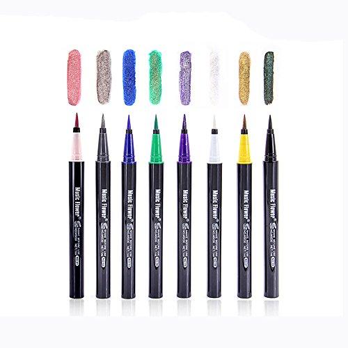 Blinkender Eyeliner, 12shage Wasserdichte Glänzende Flüssige Eyeliner Pen Bleistift Flüssige...