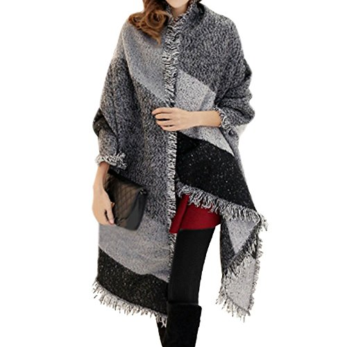 Donne A strisce Tassel cachemire Pashmina Scialle Avvolgere sciarpa oversize per l'inverno (grigio)