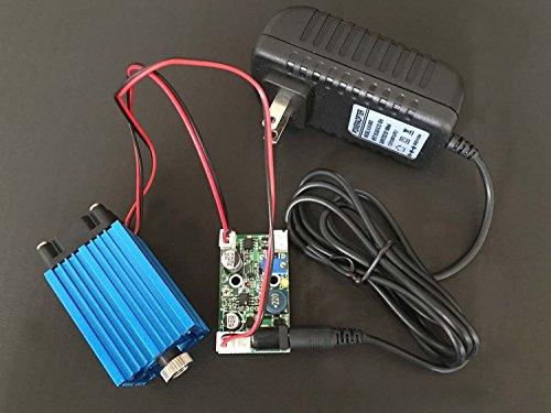 4W de la industria de alta potencia láser de diodo azul 445 / 450nm 4000mw ajustable láser módulo de punto 12V TTL + adaptador
