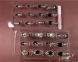 Salon-Patch handgemachte Kunsthochzeitsnagel -Kunst 24pcs falscher Nagel Schwarz-Weiß Spinnennetz falsche Nägel weißen Diamanten Fingernagel Kunst für Braut Hochzeit