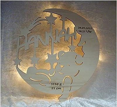 Geschenk Baby - Sweet Dreams V3 Mond Teddy Lampe Nachtlicht mit Namen des Kindes und Geburtsdaten
