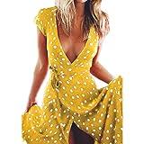 OYSOHE Damen Vintage Kleid, Neueste Frauen Sommer Boho Lange Abendgesellschaft Cocktailkleid Strandkleid Sommerkleid (L, Gelb-A)