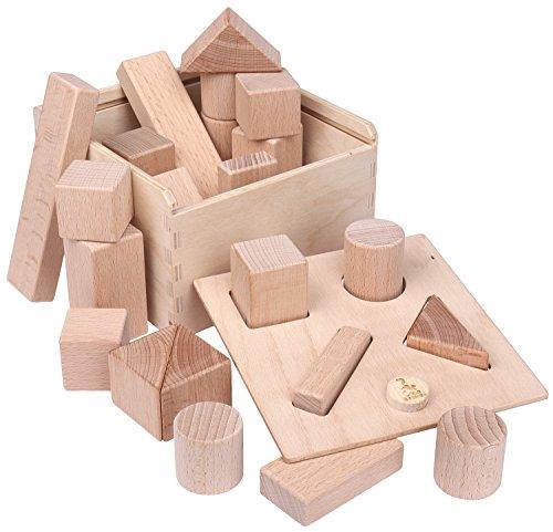 CreaBLOCKS 2-in-1 Steckbox / Formensortierspiel / Sortierbox Baby – Bauklötze - 6