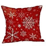 Fhuuly Merry Christmas Kissenbezug quadratisch Weihnachten Schnee Druck Kissenbezug Sofa Auto Überwurf Kissen Home Dekoration, Leinen, D, 18 * 18 inch