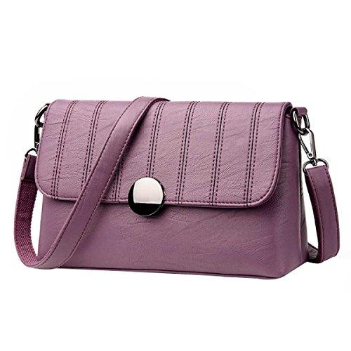 Frauen Art Und Weise Beiläufige Schultertasche Messenger Bag Aus Weichem Leder Kleine Quadratische Tasche Purple