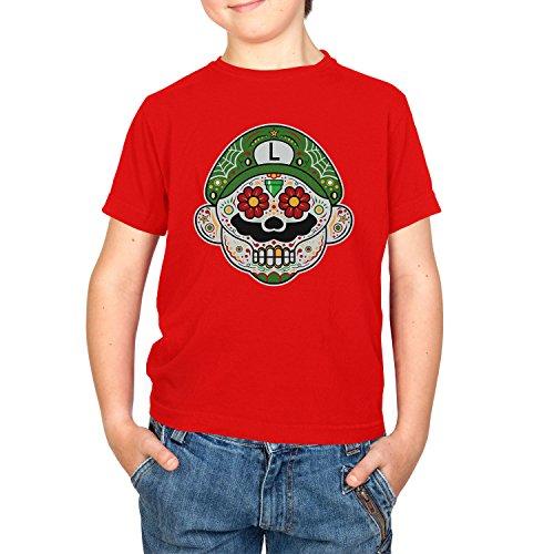 i - Kinder T-Shirt, Größe S, rot (Super Mario Maker Luigi Kostüm)
