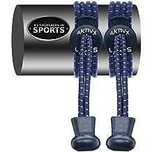 CORDONES AKTIVX SPORTS – Cierre Elástico sin atadura, Cordones de Repuesto, Color Azul Marino
