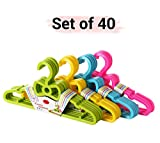 #10: TiedRibbons Small Hangers for toddler Baby kids childrens wardrobe clothes(Set of 40, Multicolor)