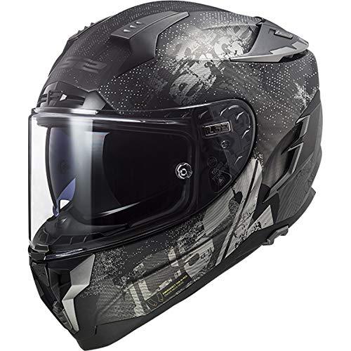 Preisvergleich Produktbild LS2 FF327 Challenger Fiberglas Fullface Helm Motorrad Helm mit Doppelvisier Roller Motorradhelm Damen und Herren Integralhelm Mattschwarz L (59-60cm)