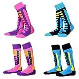 ELECTROPRIME 4 Pairs Children Boys Girls Ski Socks Snowboard Hiking Warm Thick Stockings