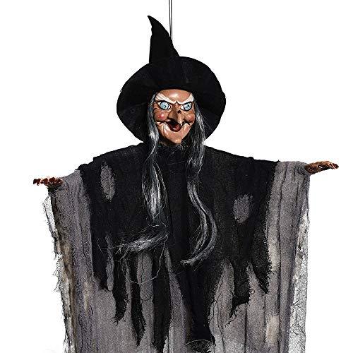 (SUNREEK hängenden Animierten Sound und Touch Aktiviert Skelett Ghost Halloween Dekoration mit Leuchtenden Roten Augen (5ft/153cm))