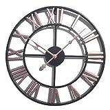 LVPY Pendule Murale Vintage Style Silencieux en métal - Diam 40 cm - Rose, Horloge Murale la Decoration de la Maison, la Cuisine