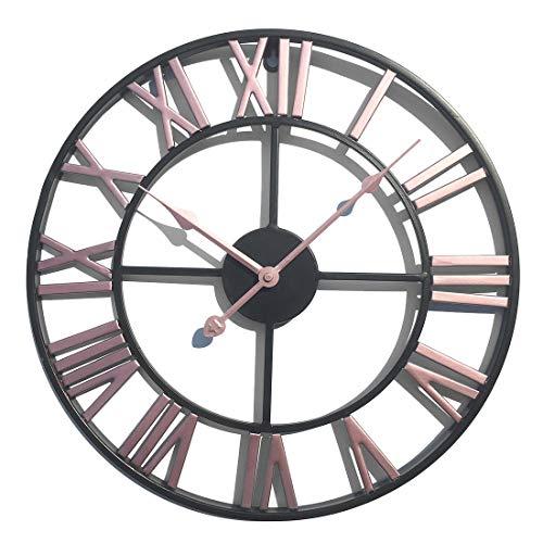 LVPY Wanduhr im Antik-Look aus Metall, Durchmesser 40 cm, Wanduhr Lautlos für Wohnzimmer, Küche, Büro und Schlafzimmer, Rosa