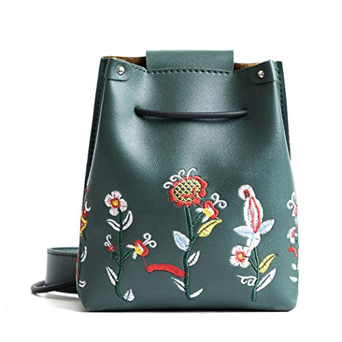 Schultertaschen Damen, DoraMe Mädchen Frauen Retro Weiblich Einfache Crossbody Umhängetasche Floral Stickerei PU Leder Handtasche (Grün) (Floral Umhängetasche)