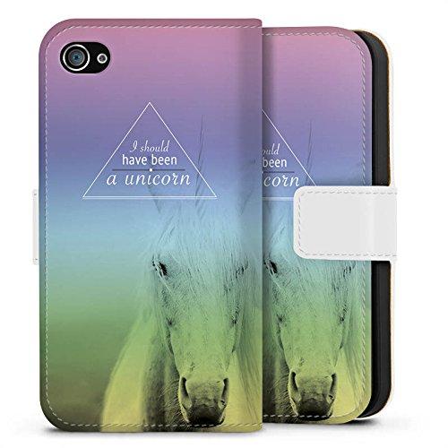 Apple iPhone X Silikon Hülle Case Schutzhülle Einhorn Sprüche Unicorn Sideflip Tasche weiß