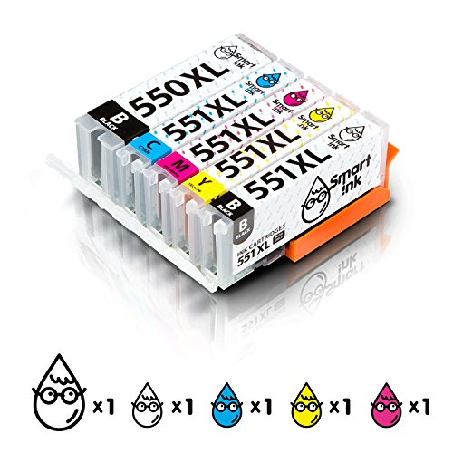 Smart Ink Kompatibel Druckerpatronen Tintenpatronen Canon PGI 550 XL CLI 551 XL 5 Pack(PGBK & BK/C/M/Y) mit Chip für Canon PIXMA MG5450, MX725, MX925, MG6450, MG5550, IX6850, MG5650, IP7250, IP8750