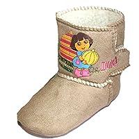 Kids Novelty Dora Explorer Cartoon Boot Slipper UK10 Beige