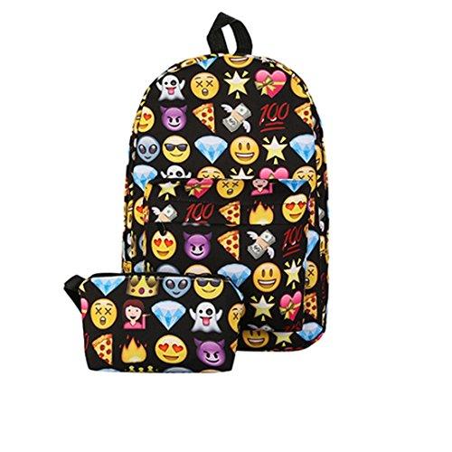 Longra Borsa da zaino dello zaino di stampa Emoji della parte superiore del nylon di modo donne due pezzi impostati Nero