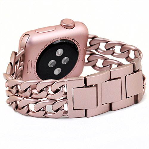 Cinturino Apple Watch,Pugo TOP Premium in acciaio inossidabile del cowboy di stile Strap Banda Vigilanza del braccialetto per Apple Osservare Serie 1, Serie 2 (38mm, oro rosa)