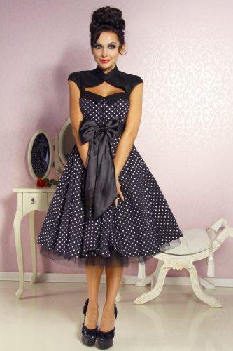 Chic Star Vintage Rockabilly-Kleid Damen schwarz-weiß Kleid - 2