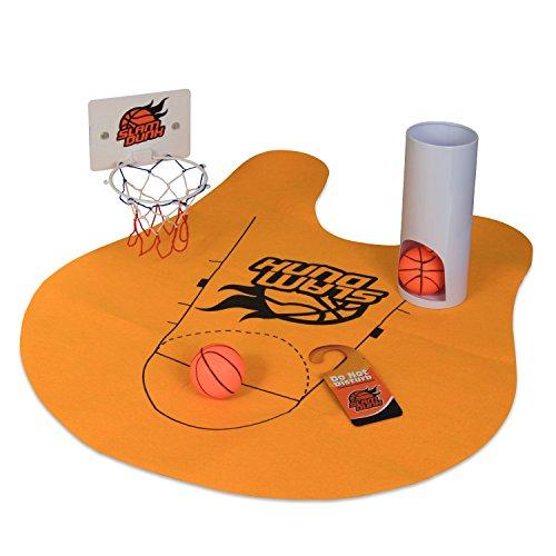 Grinscard Toiletten Basketball Set mit 3 Bällen und Matte - 8-teilig - Witziges Klo-Basketball Spiel fürs Badezimmer - Basketball-spiel Ball