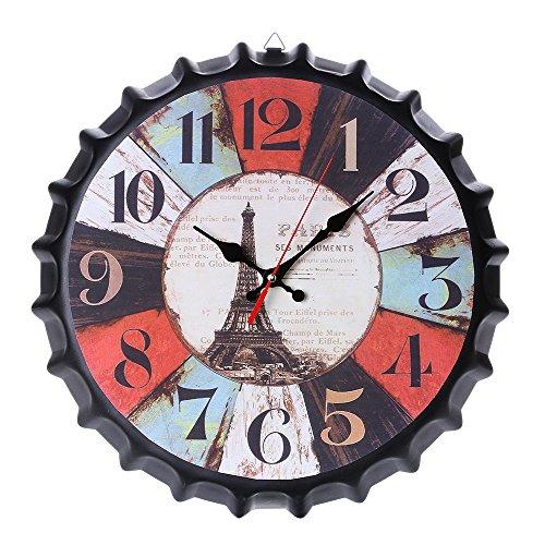 Yxmxxm orologio shabby chic - orologio da parete muto senza ticchettio per cafe loft hotel - orologio da cucina rotondo stile vintage (13,7 pollici),1