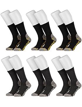 6 Paar Herren Arbeitssocken Funktionssocken lang verstärkte Ferse und Spitze | grau blau schwarz | Keine Druckstellen...