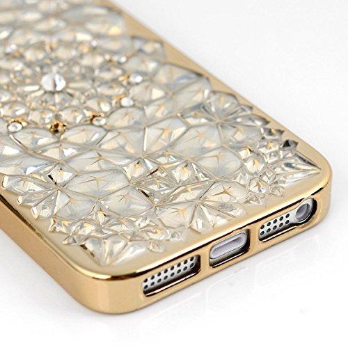 Coque pour Apple iPhone 7 Plus (5.5 pouces), HB-Int 3 en 1 Bling Diamant TPU Coque Ultra Mince Paillette Case Cover Tournesol Gold Cadre Design Bumper Portable Soft Housse Cas Prime Flex Silicone Euit Gold