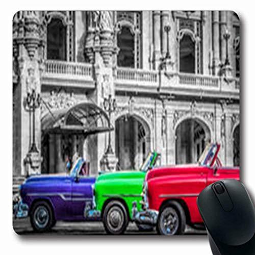 Luancrop Mousepads 60S Santa Clara Cuba Park 23. Juni Retro Weinlese Oldtimer-längliches Spiel-Mausunterlage-rutschfeste Gummimatte -