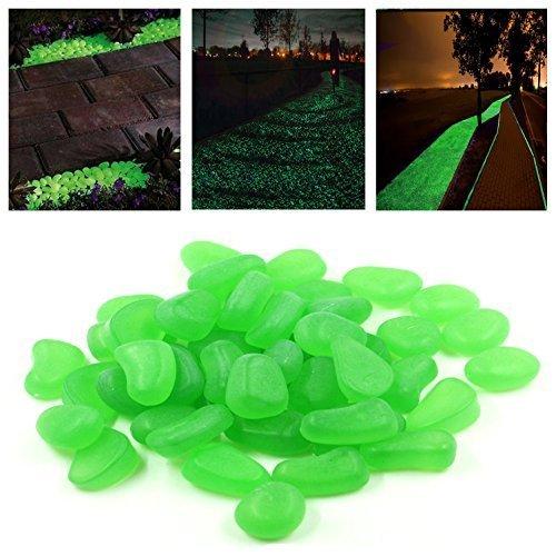 StillCool Pietre di ciottoli Glow nel giardino oscuro er piante di passerella Decorazione del serbatoio di pesce Pietra luminosa 100PCS (verde)